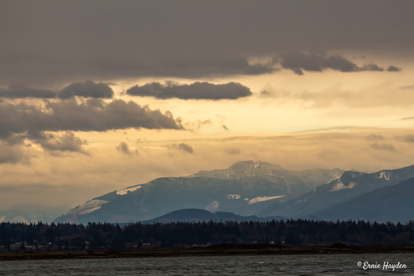 Looking East Across Padilla Bay - Snow Clouds Looming - Landscapes - Rising Moon NW Photography