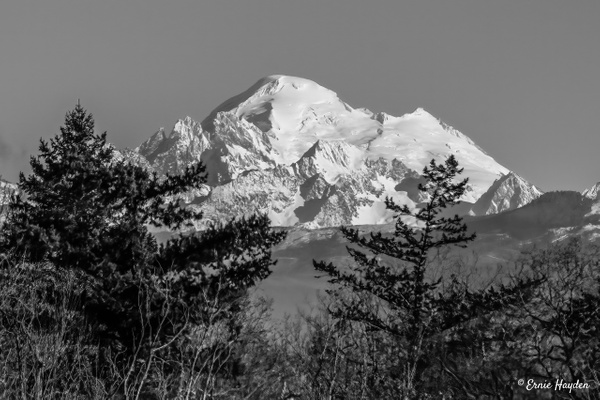 Mt Baker - B&W - Landscapes - Rising Moon NW Photography