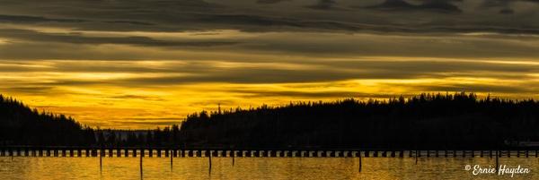 Strange Midday Light over Fidalgo Bay - Golden Hour - Rising Moon NW Photography