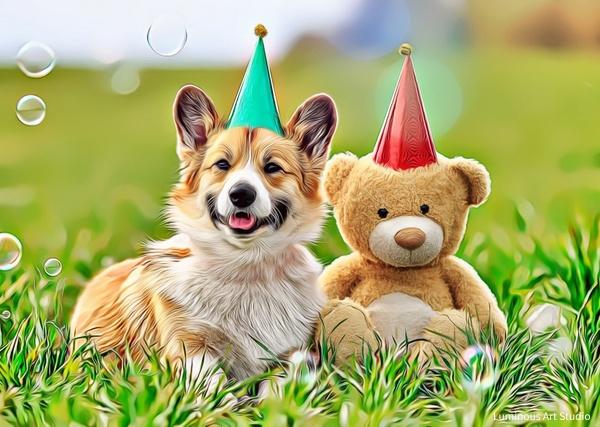 Corgi-Dog-Teddy-Bear-018 - Pet Illustrations - LuminousLight