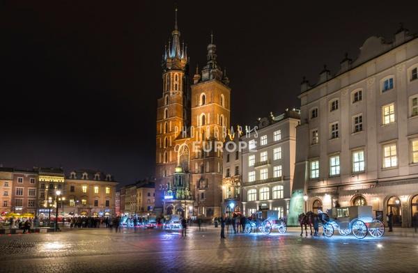 St-Mary's-Basilica-at-night-Krakow - Krakow, Poland