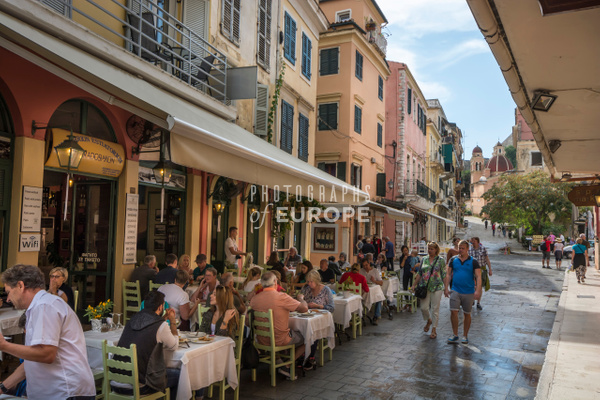 Streetlife-and-cafe-Corfu-Old-Town-Corfu-Greece - Photographs of Corfu Old Town, Greece.