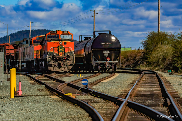 Burlington Northern Engine and Oil Car - Golden Hour - Rising Moon NW Photography