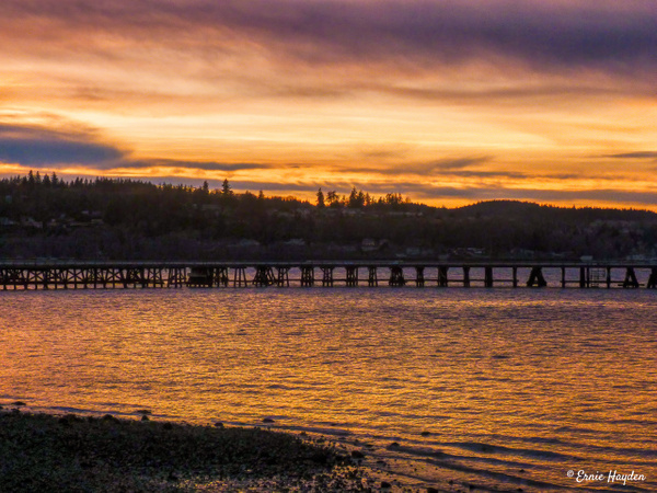 Sunset - Looking West Towards Anacortes over the Shell Causeway - Golden Hour - Rising Moon NW Photography