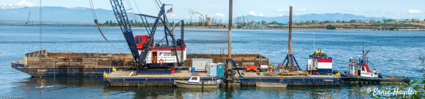 Panorama - American Construction Dredge - Golden Hour - Rising Moon NW Photography