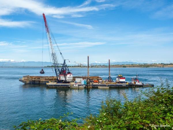 American Construction Dredge Operation - Fidalgo Bay - Golden Hour - Rising Moon NW Photography