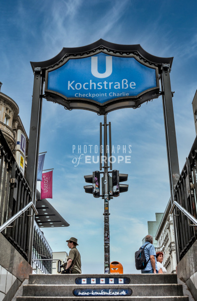 Kochstrasse- Checkpoint-Charlie-U-bahn station-sign-Berlin - Photographs of Berlin, Germany.