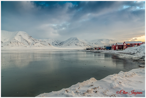 Cold view-huts-mountains-Svalbard bay by Ingymon