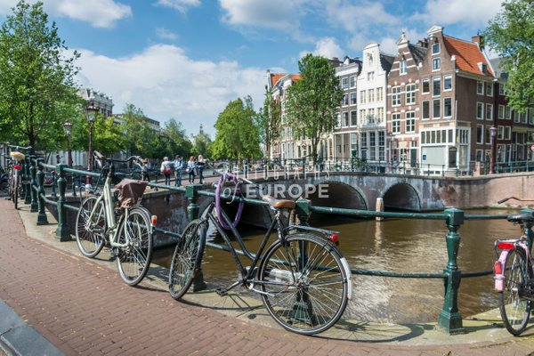 Bicycles-and-canal-bridge-Amsterdam-Netherlands - Photographs of Amsterdam, Netherlands.