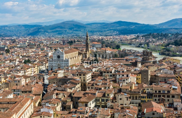 View-of-Florence-and-Santa-Croce-church-Italy - Photographs of Florence and Pisa, Italy.