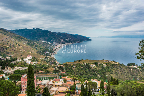 View-from-Taormina-towards-Messina-Sicily-Italy - Photographs of Sicily, Italy.