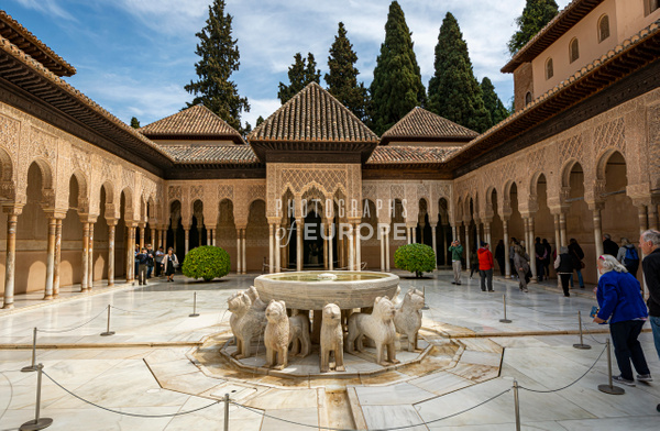 The-main-courtyard-Palace-of-the-Lions-Alhambra-Granada-Spain - Photographs of Granada, Spain
