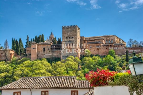 Alhambra-Palace-on-hill-Puente-del Cadi-Granada-Spain - Photographs of Granada, Spain