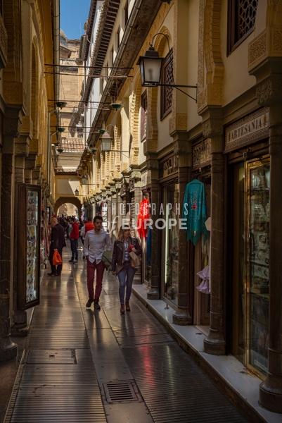Narrow-shopping-arcade-Granada-Spain - Photographs of Granada, Spain