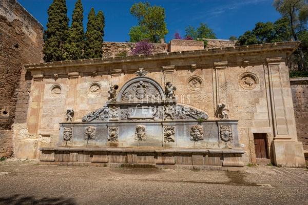 Pilar-de-Carlos-V-elaborate-fountain-Alhambra-Granada-Spain - Photographs of Granada, Spain