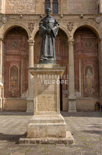 Statue-of-Fray-Luis-de-Granada-outside-church-of-Santo-Domingo-Granada-Spain - Photographs of Granada, Spain