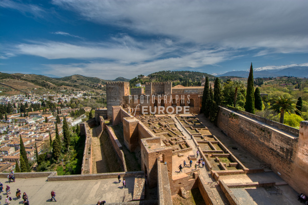 View-of-the-Alcazaba-moorish-fortress-from-the-Arms-Tower-Alhambra-Granada-Spain - Photographs of Granada, Spain