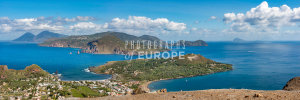 Panoramic-view-of-Lipari-from-summit-of-Vulcano-Aeolian-Islands-Italy - Photographs of the Aeolian Islands, Italy