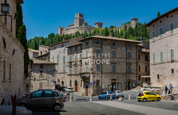 Fortress-of-Assisi-above-stone-buildings-Assisi-Umbria-Italy - Photographs of Umbria, Italy