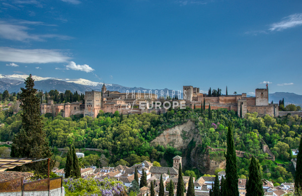 Alhambra-Palace-with-snow-capped-Sierra-Nevada-Mountains - Photographs of Granada, Spain