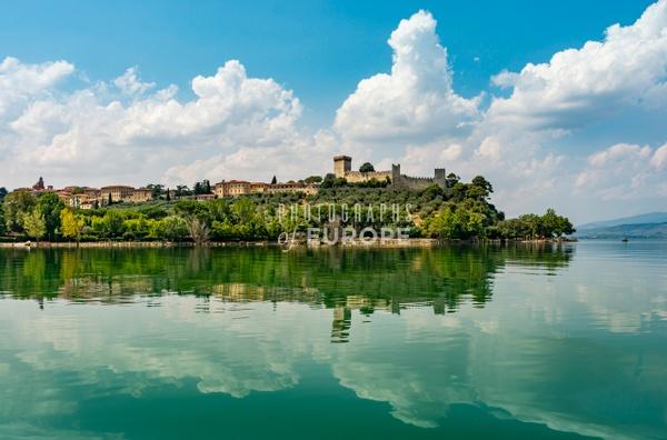 Castiglione-del-Lago-from-boat-on-Lake-Trasimeno-Umbria-Italy - Photographs of Umbria, Italy