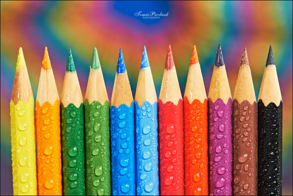 View of different colored crayons